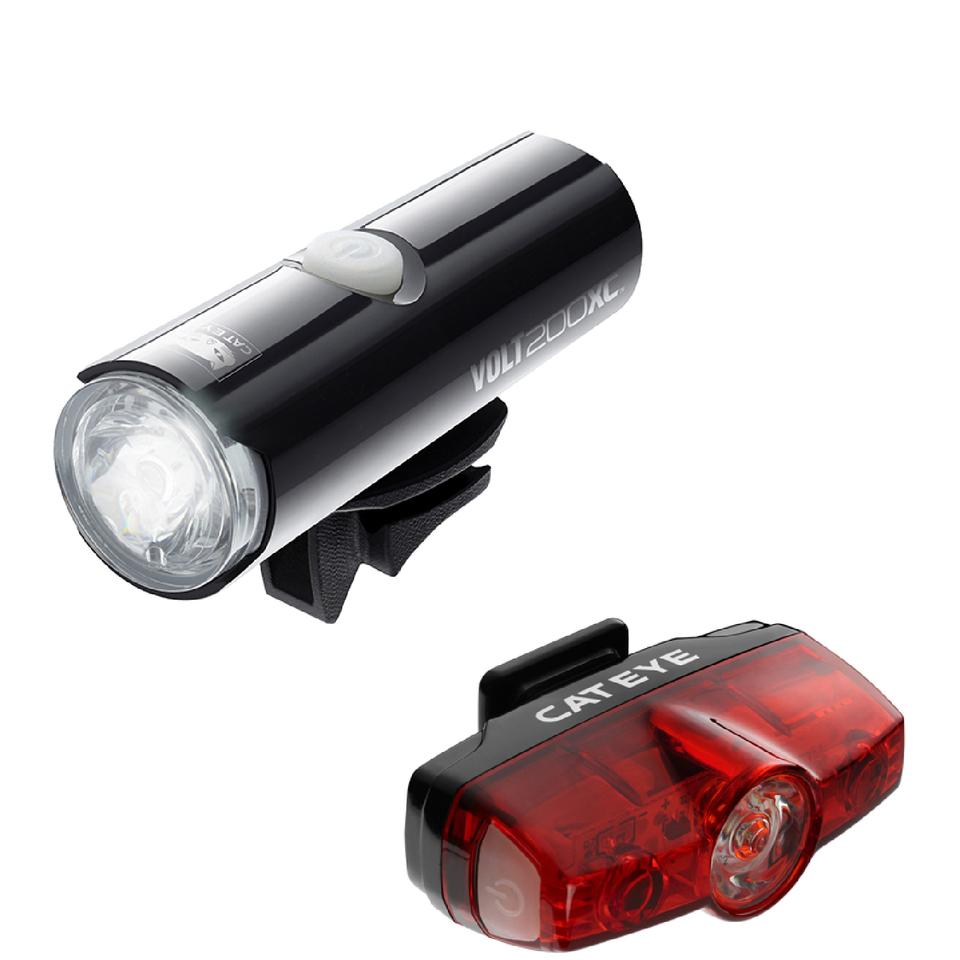 cateye-volt-200-xc-front-rapid-mini-rear-light-set