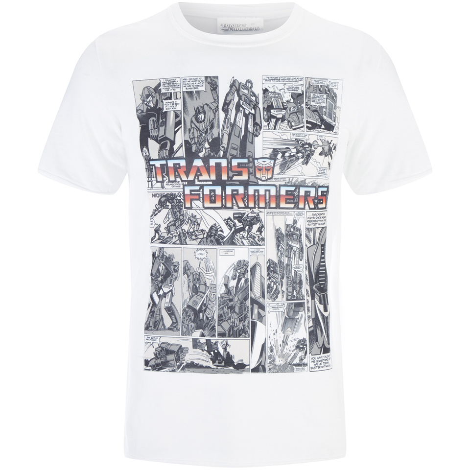 Transformers Men's Comic Strip T Shirt Weiß XL Weiß