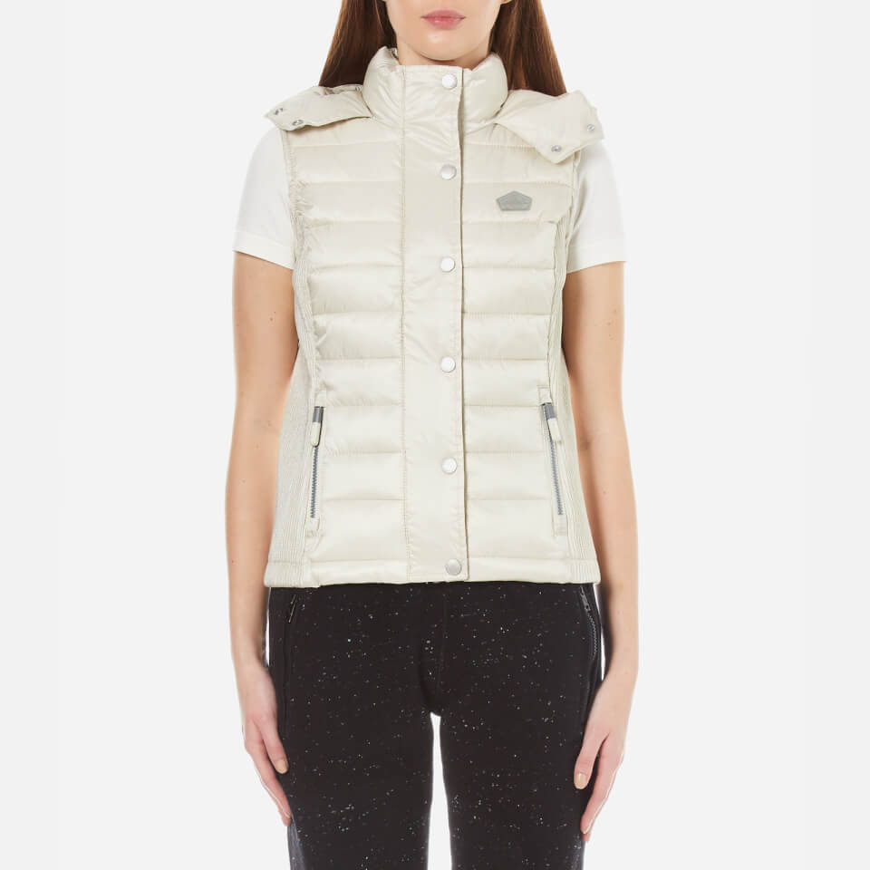 Superdry Womens Luxe Fugee Double Zip Vest Champagne M