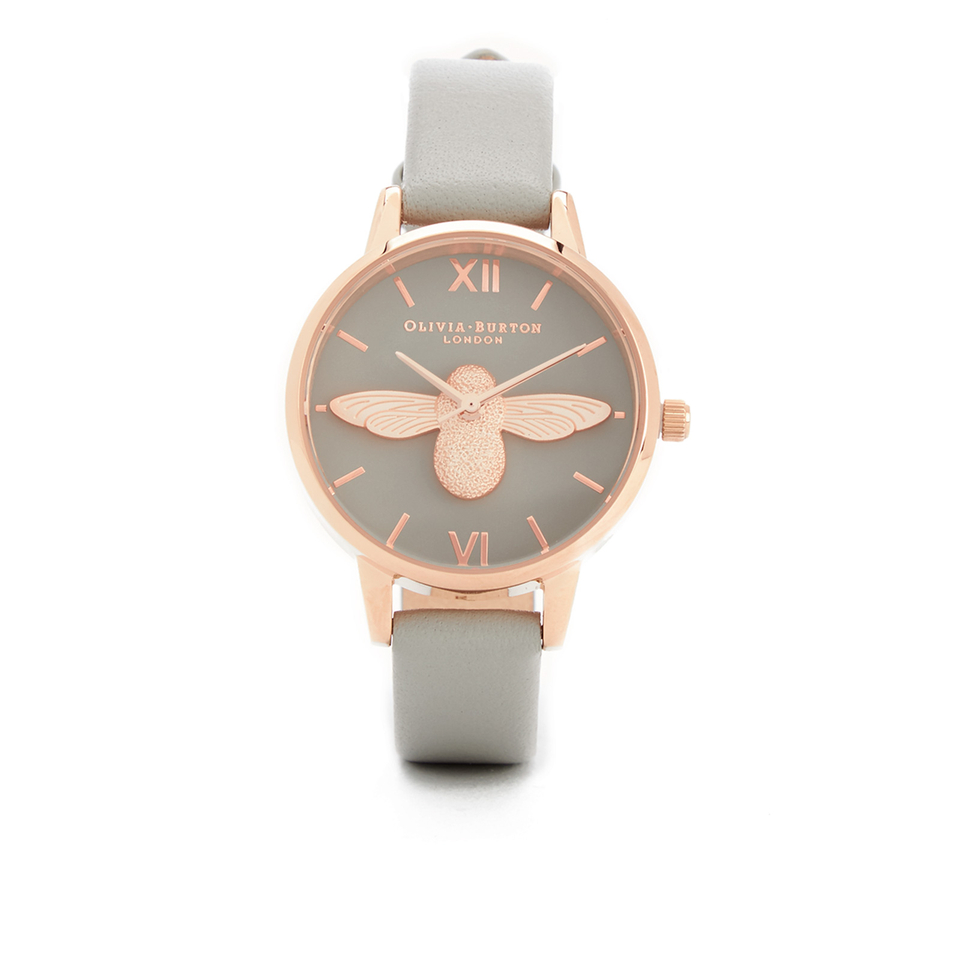 Olivia Burton Women S Moulded Bee Midi Dial Watch Grey Rose Gold