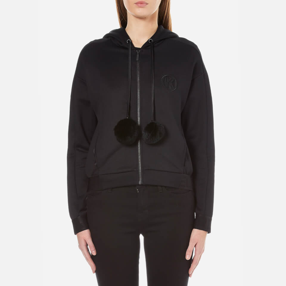 karl-lagerfeld-women-hoody-with-fur-pom-poms-black-l