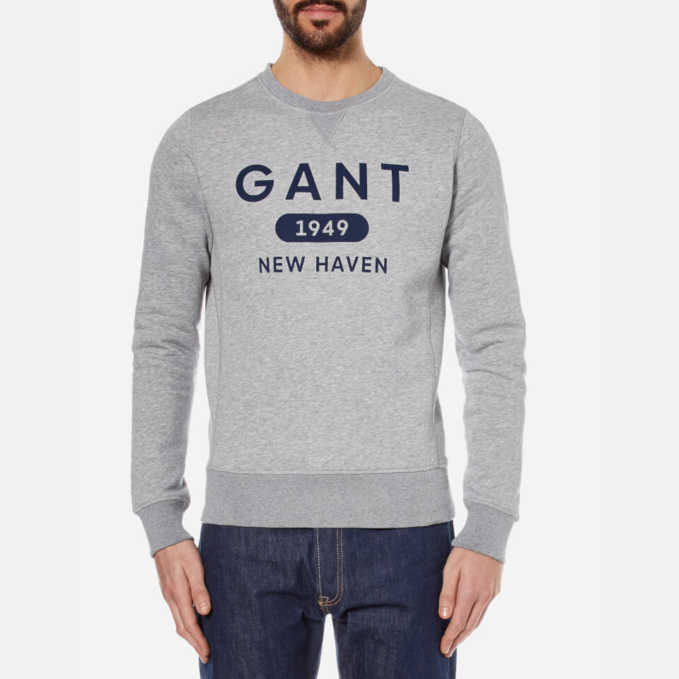 Gant Mens Athletics Crew Neck Sweatshirt Grey Melange Xxl