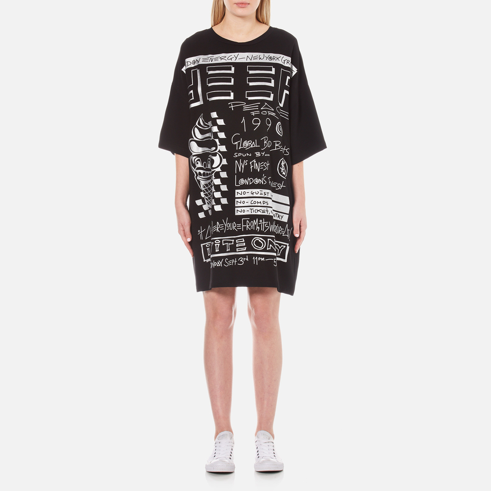 Kenzo Womens Crepe Back Satin Flyer Print T-shirt Dress Black M