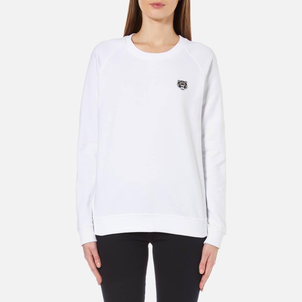 Kenzo Womens Tiger Crest Light Brushed Molleton Sweatshirt White M