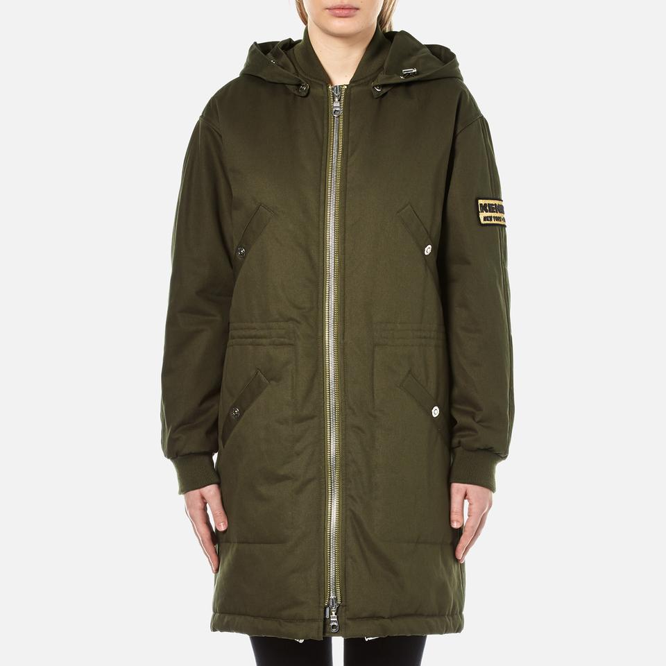 Kenzo Womens Cotton New York Paris Parka Jacket Dark Khaki S
