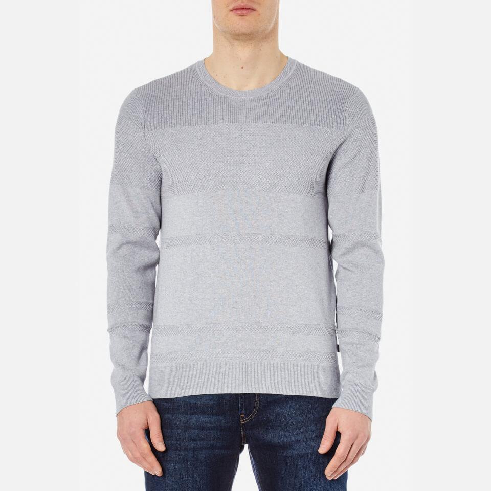 Michael Kors Mens Honeycomb Stripe Crew Neck Sweatshirt Heather GreyM