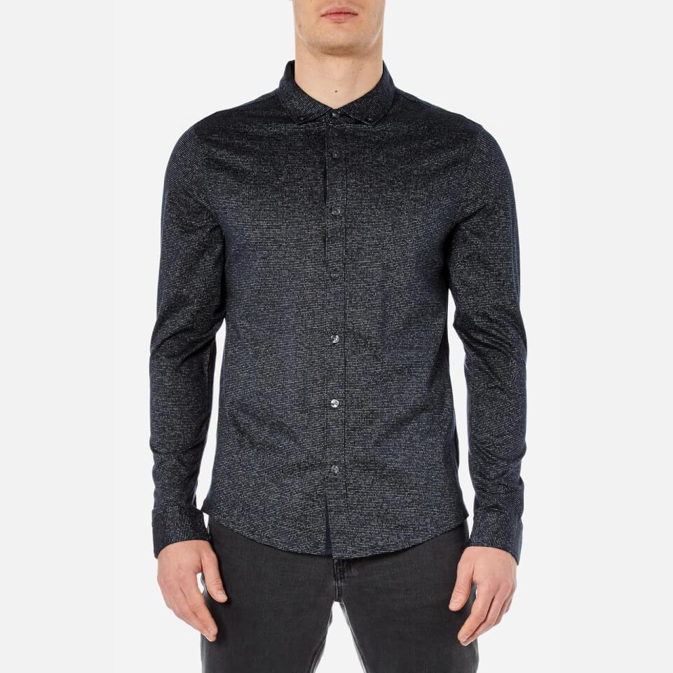 Michael Kors Mens Long Sleeve Button Down Shirt Midnight Xl