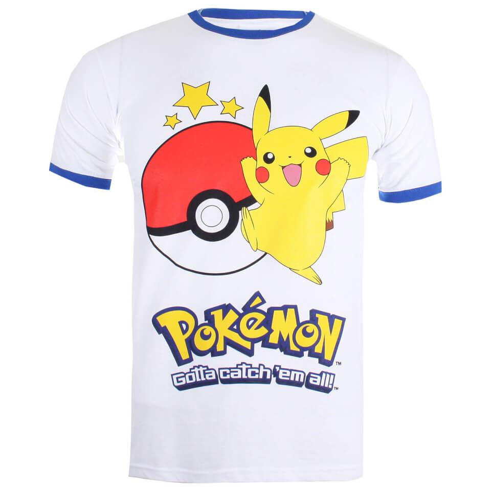 Pokemon Herren Pikachu Ringer T Shirt Weiß Royal Blau S Weiß