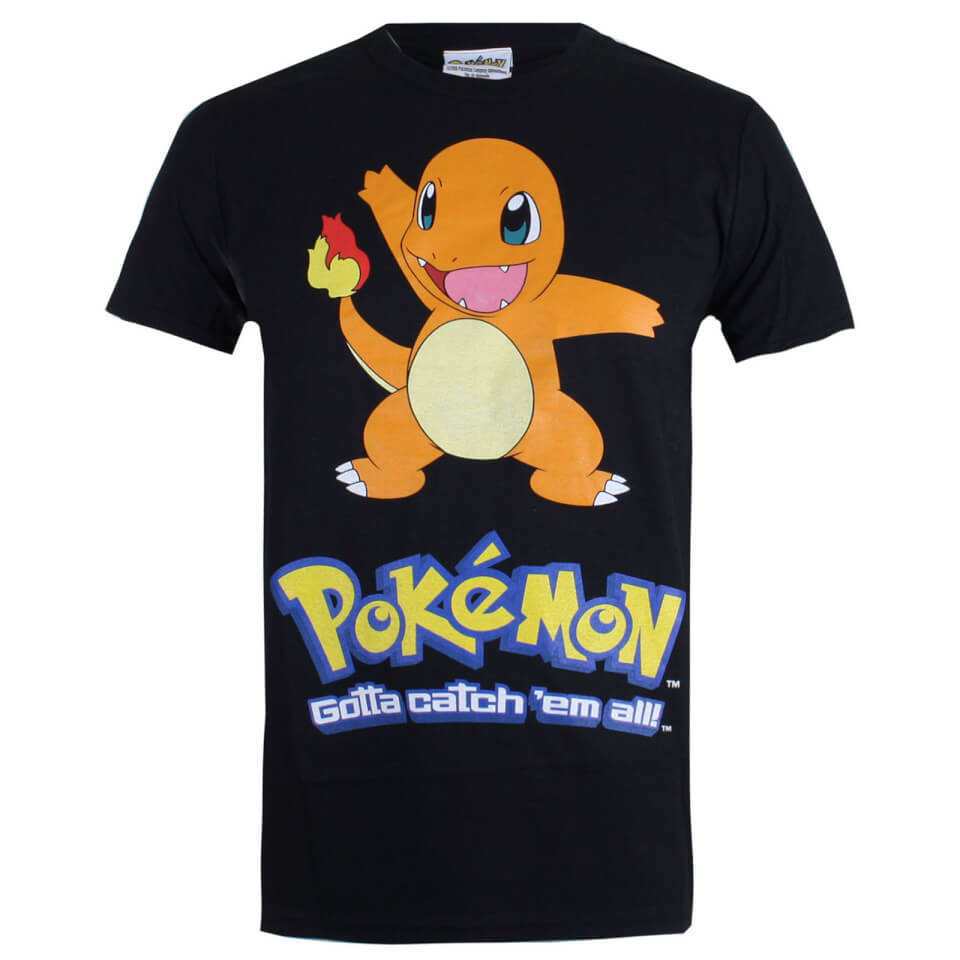 Pokemon Men's Charmander T Shirt Schwarz XS Schwarz