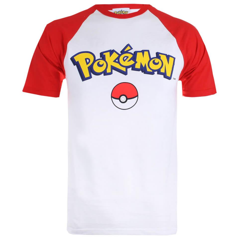 Pokemon Herren Logo Contrast T Shirt Weiß Rot M Weiß