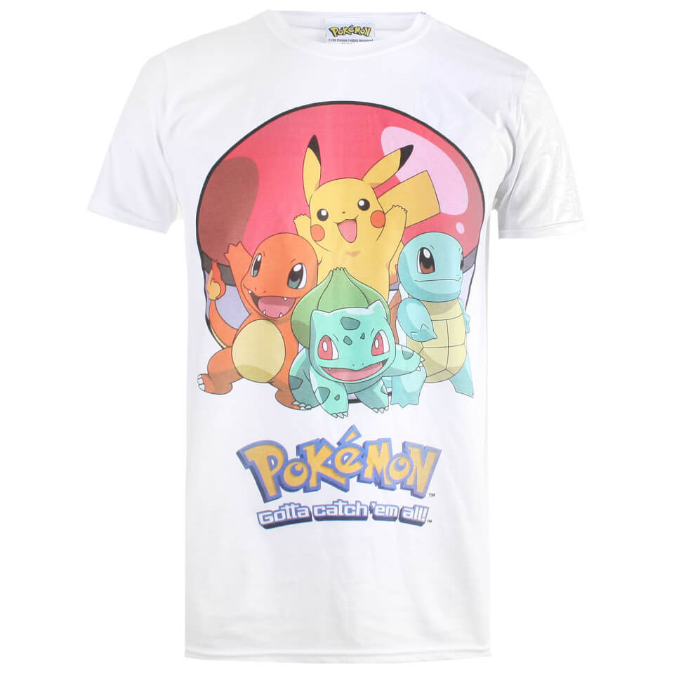 Pokemon Herren Groupball T Shirt Weiß L Weiß
