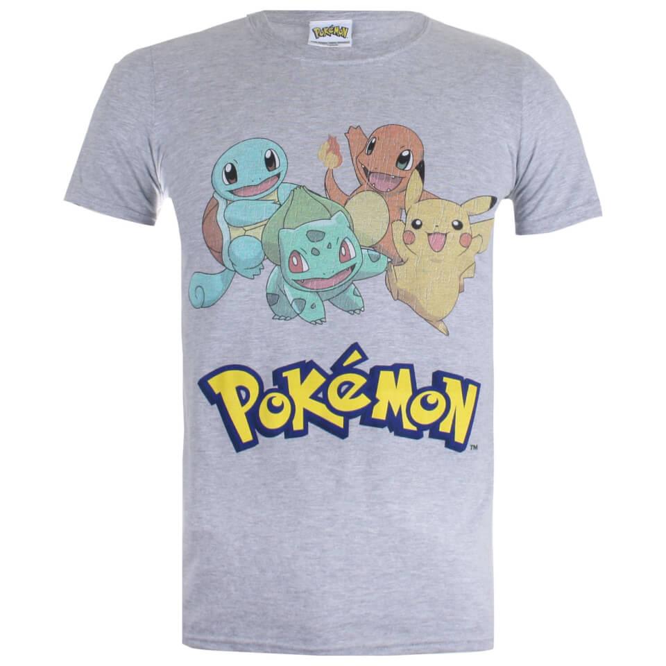 Pokemon Men's Starters T Shirt Sport Grey XXL