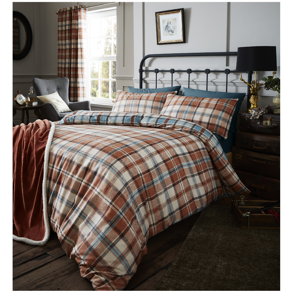 catherine-lansfield-heritage-kelso-check-bedding-set-spice-single-spice