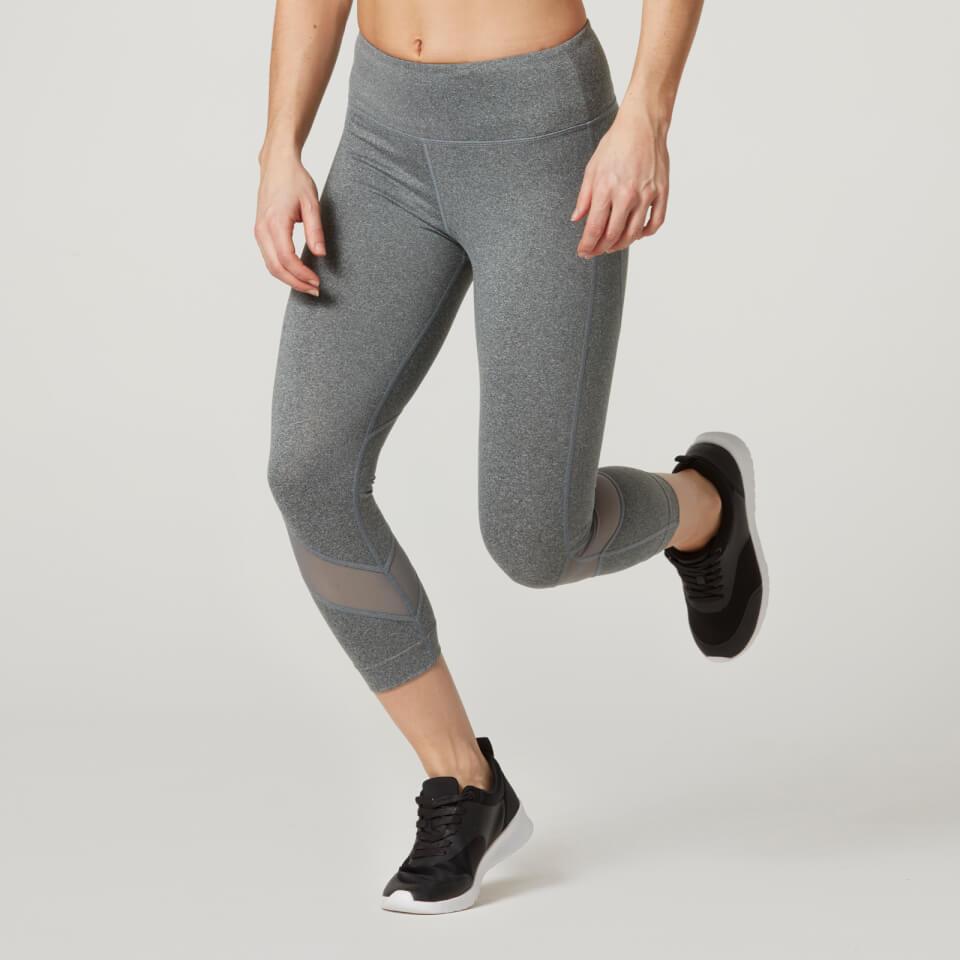 Heartbeat Cropped Mesh Leggings - Grey - S 11344804