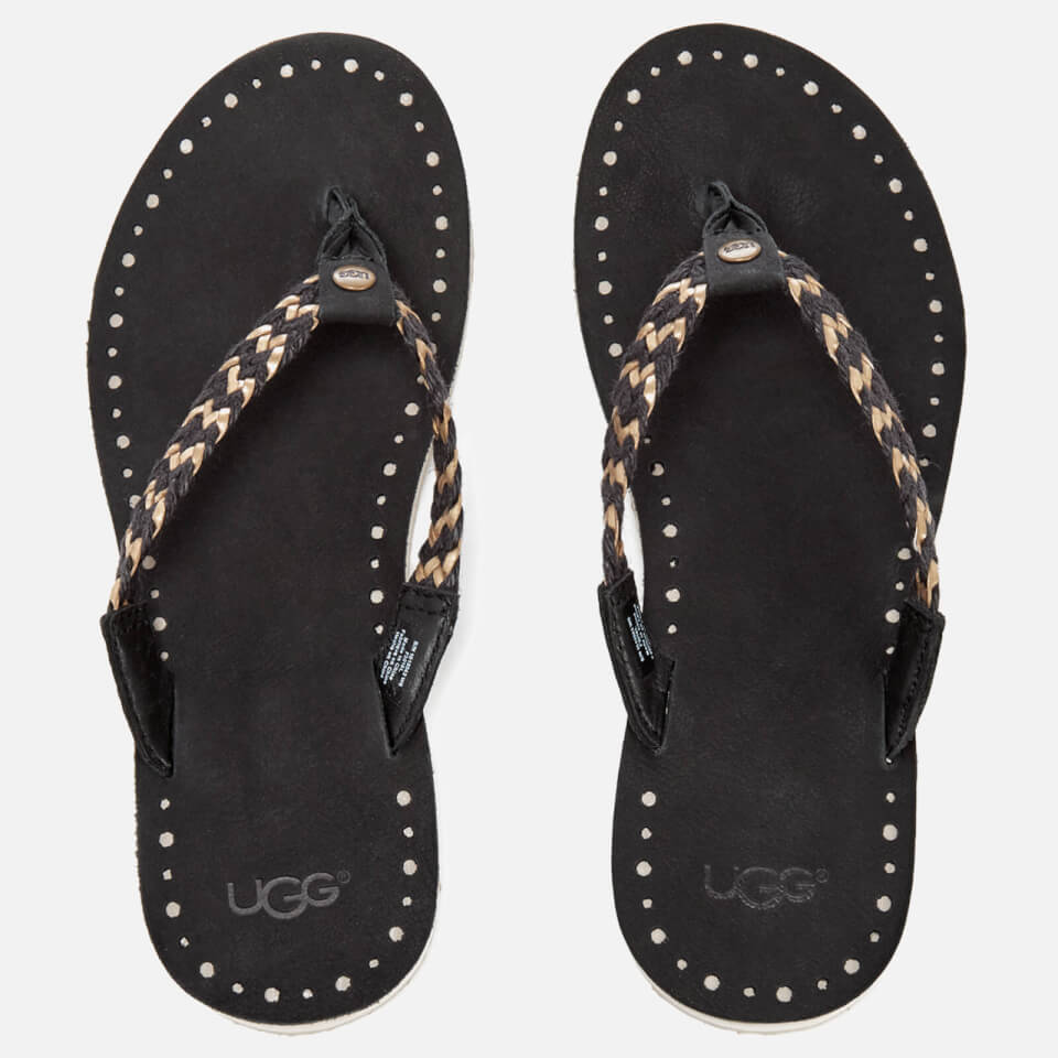 ugg women 39 s navie ii leather braided flip flops black free uk delivery allsole. Black Bedroom Furniture Sets. Home Design Ideas