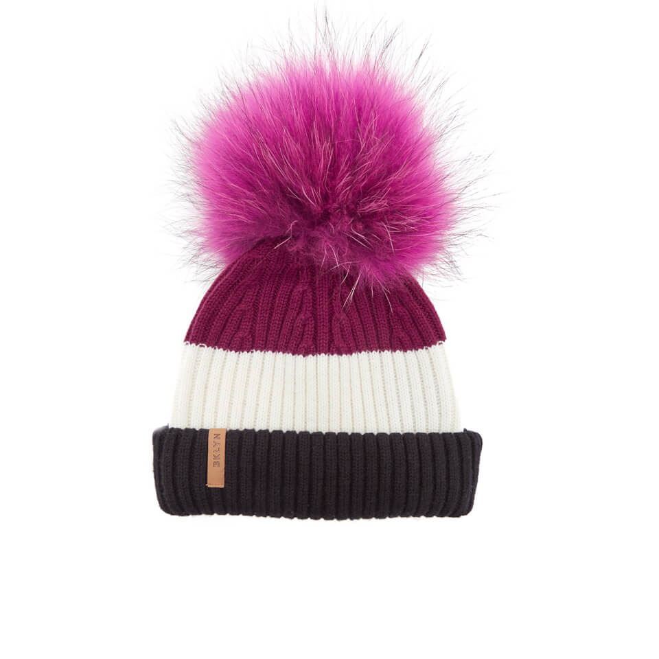 bklyn-women-merino-wool-hat-with-fuchsia-pink-pom-pom-black-white-wine