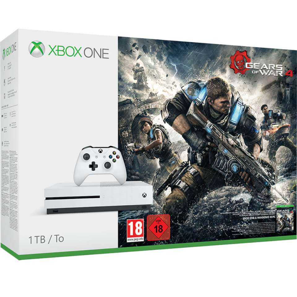 Xbox One S 1TB Console - Includes Gears of War 4