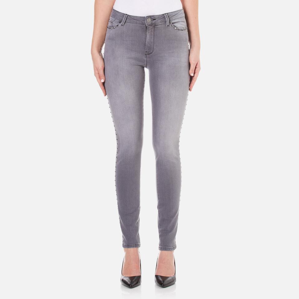 Karl Lagerfeld Womens Studded Slim Fit Denim Jeans Grey W27/l32