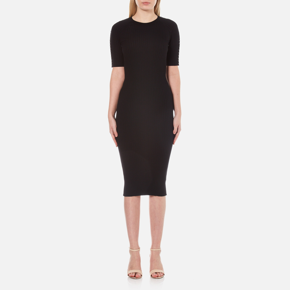 Alexander Wang Womens Crew Neck Pierced Sleeve T-shirt Dress Matrix L