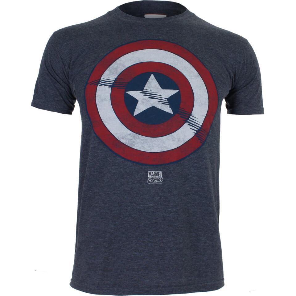Marvel Boys' Captain America Shield T Shirt Heather Navy 9 10 Years