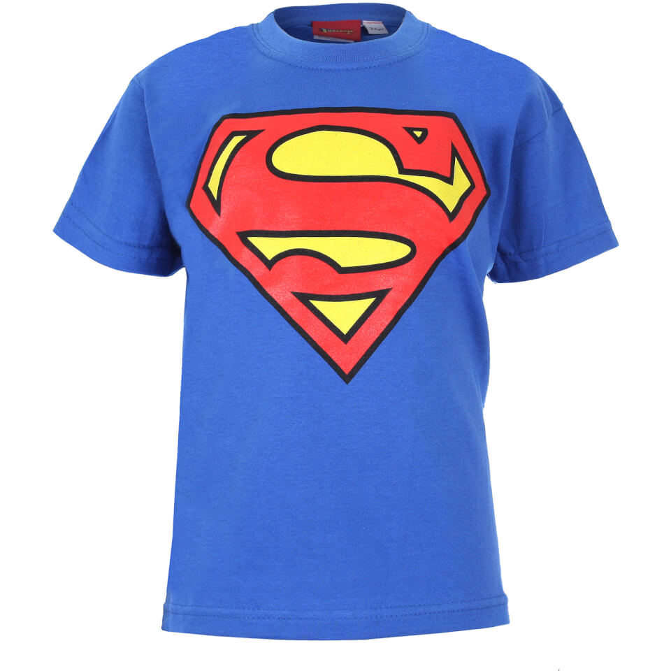 DC Comics Kinder Superman Logo T Shirt Royal Blue 7 8 Years Blau