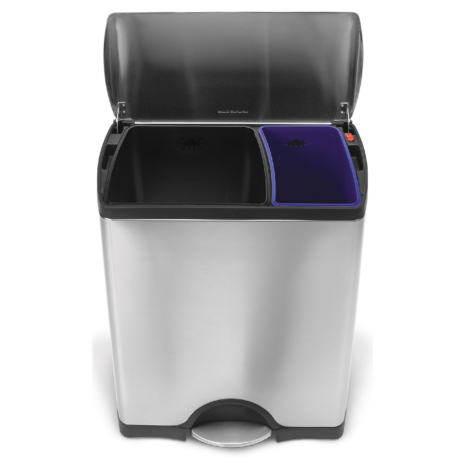 simplehuman-rectangular-brushed-steel-recycler-pedal-bin-46l