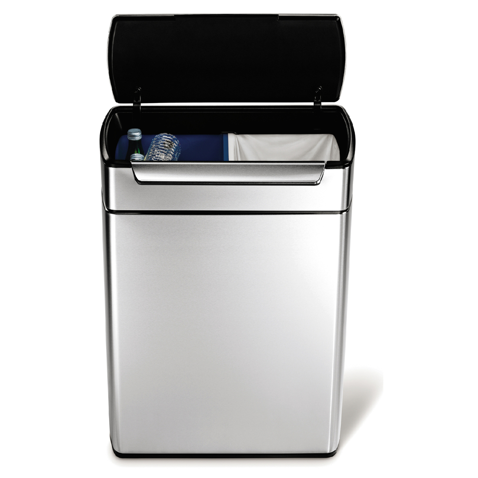 simplehuman-rectangular-brushed-steel-touch-bar-recycler-bin-48l