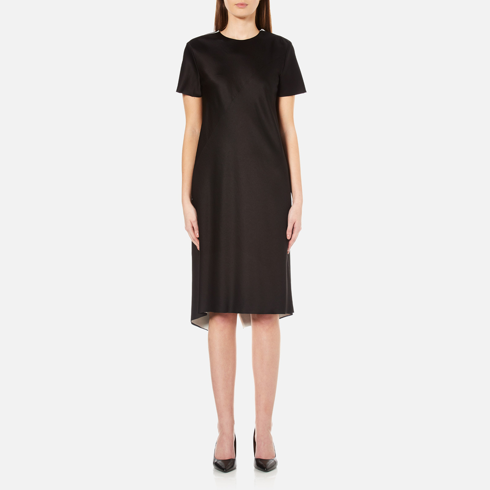 Dkny Womens Short Sleeve Reversible Layered Dress With Back Slit Black/gesso Uk 8/us 4