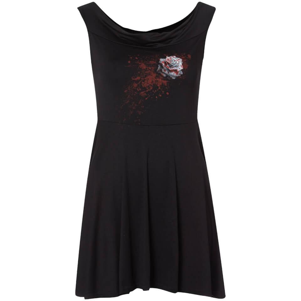 Spiral Women's White Rose Skater Dress - Black - S - Negro