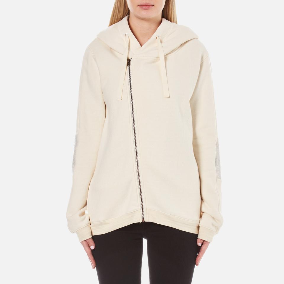 Maison Scotch Womens Home Alone Double Hooded Sweatshirt With Zip Closure White Uk 8/1