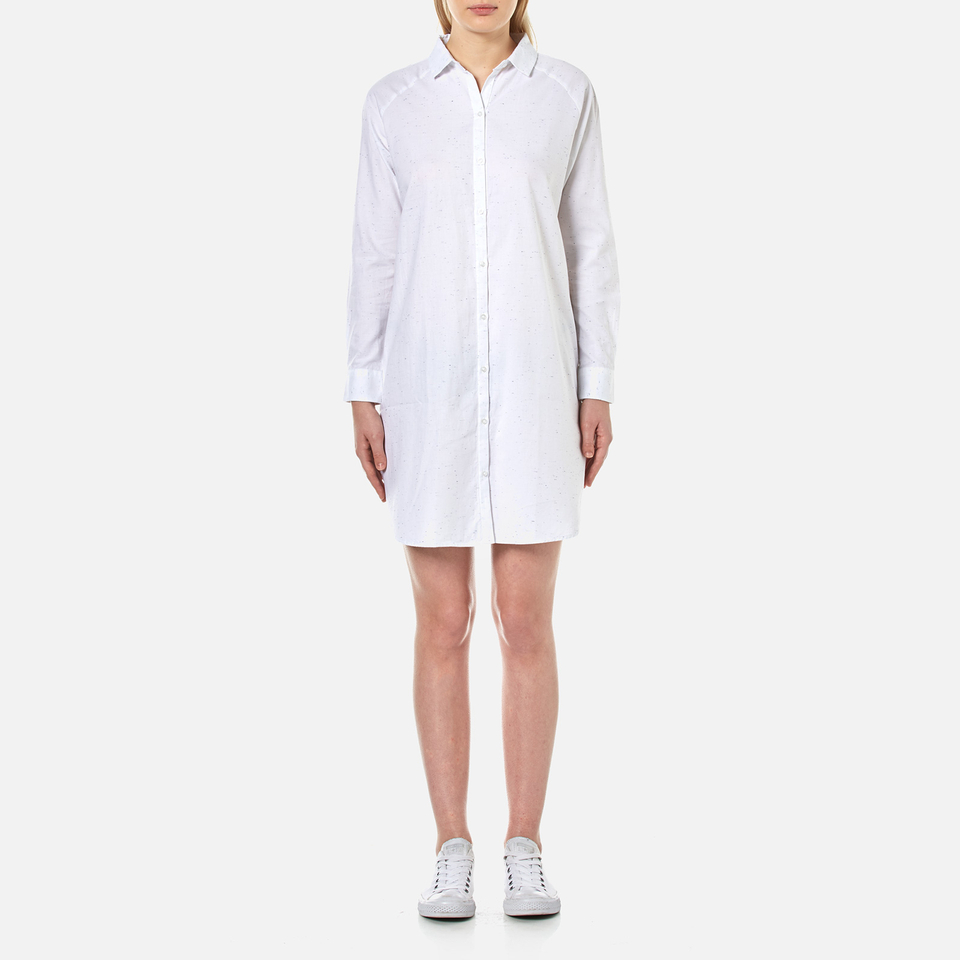 Barbour Heritage Womens Flecked Shirt Dress White Uk 10