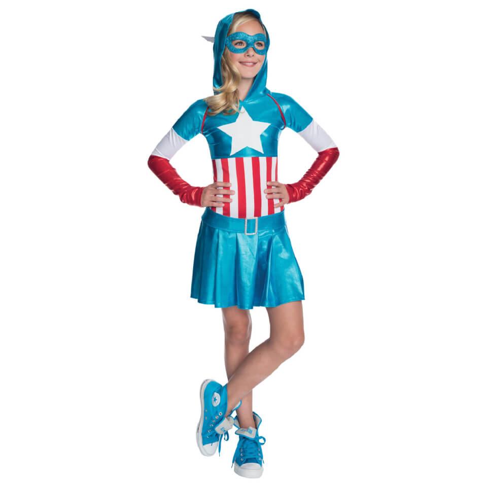 Marvel Girls' Captain America Hoody Dress XL Blau