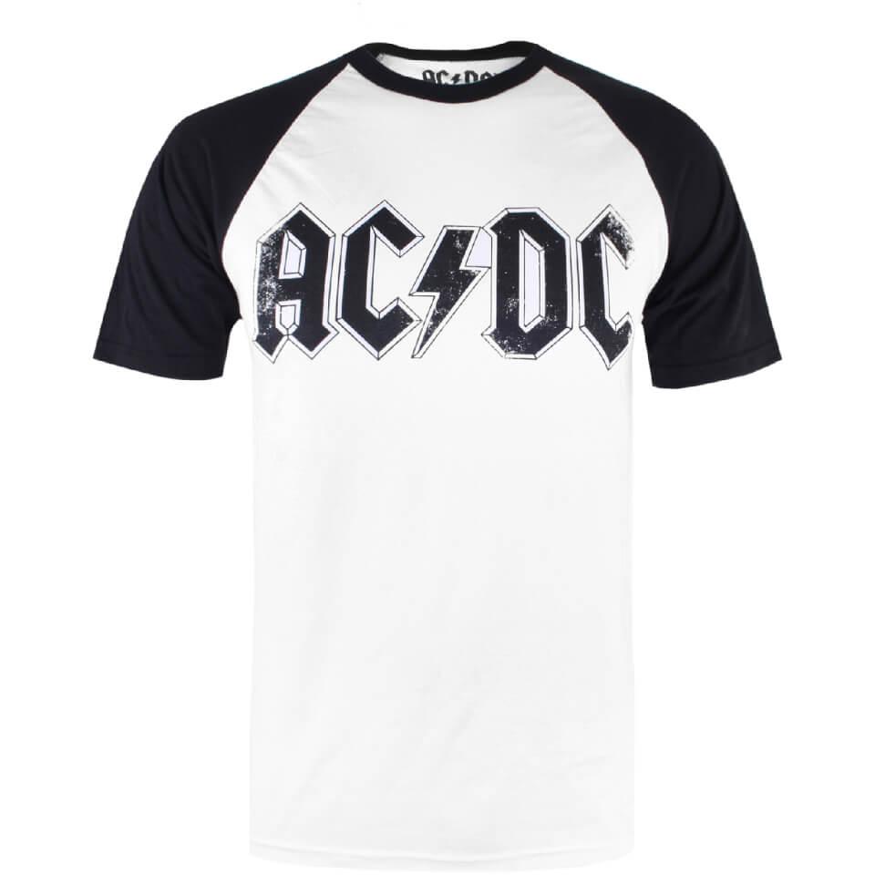 ACDC Herren Logo Raglan Logo T Shirt Weiß Schwarz XL White Black