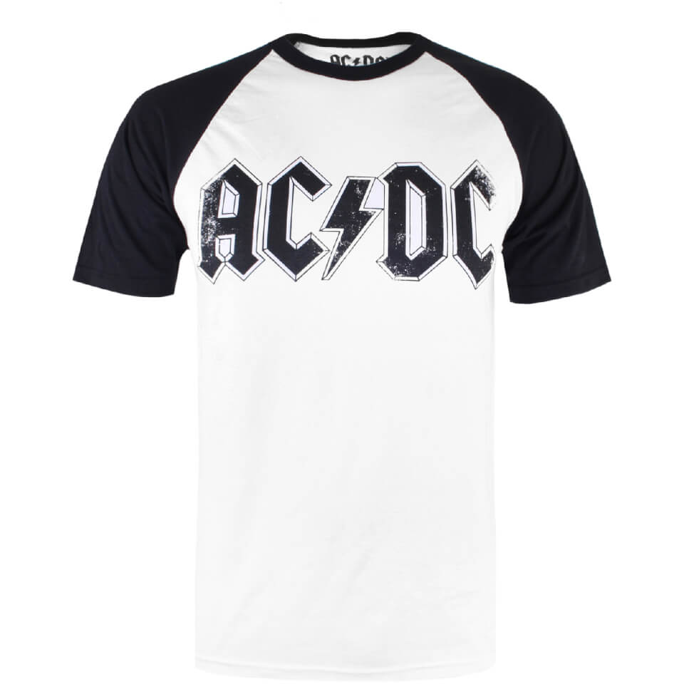 ACDC Men's Logo Raglan Logo T Shirt White Black XL