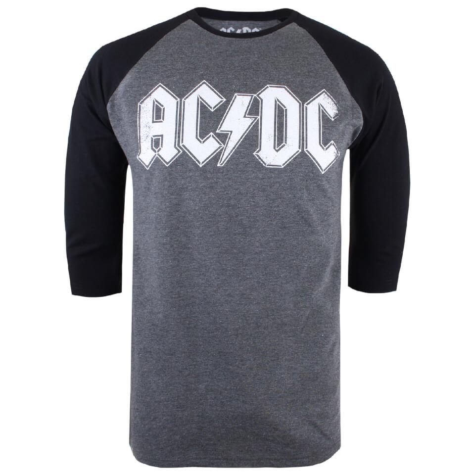 ACDC Herren Logo Raglan Logo 3 4 T Shirt Grau Marl Schwarz S Grau Schwarz