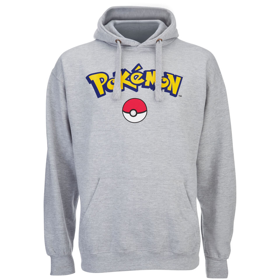 Pokemon Men's Logo Hoody Grey Marl XL Grau