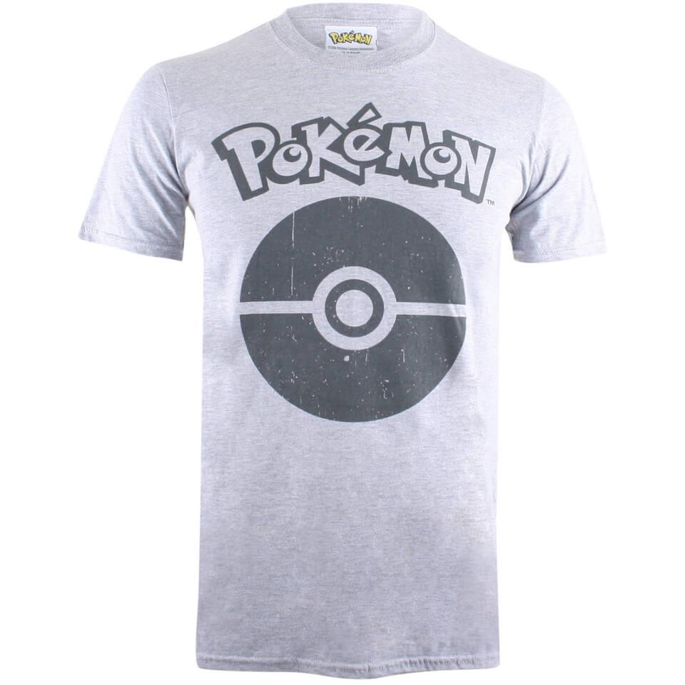 Pokemon Men's Pokeball Symbol T Shirt Grey Marl XL