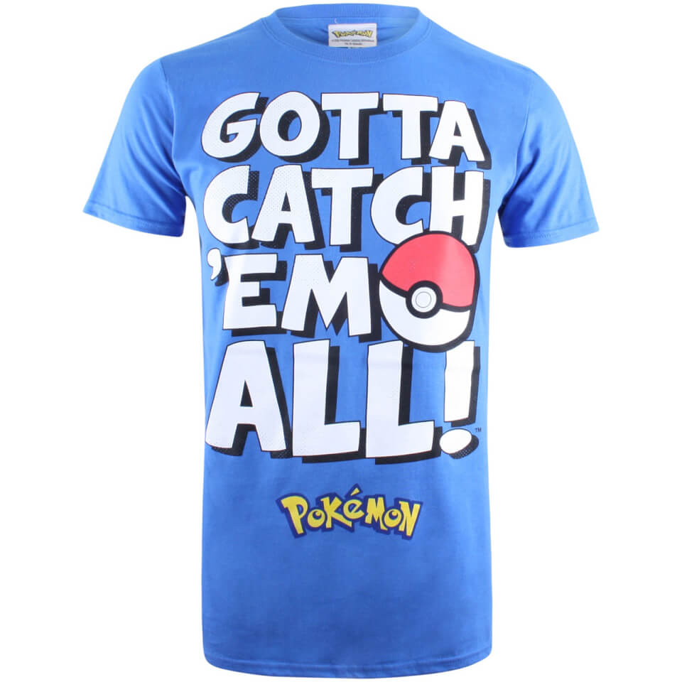 Pokemon Herren Gotta Catch Em Text T Shirt Royal Blau S Blau
