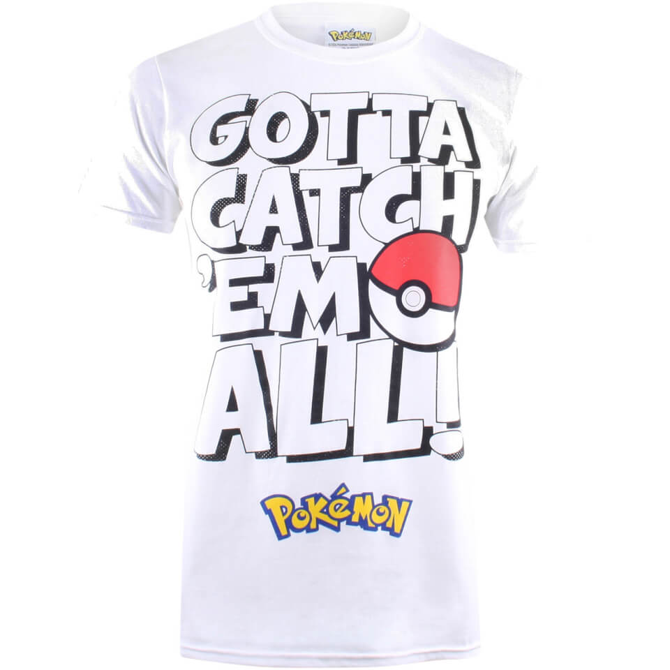 Pokemon Herren Gotta Catch Em Text T Shirt Weiß XS Weiß