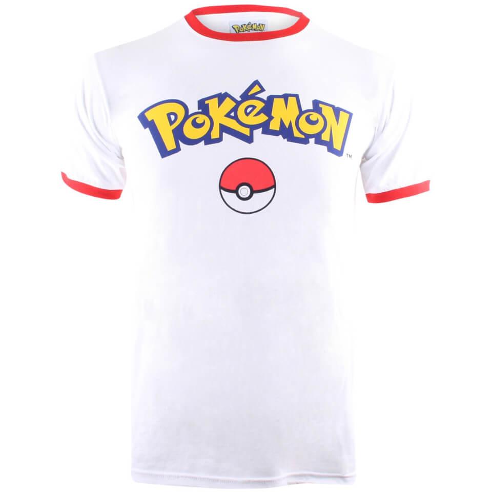 Pokemon Herren Logo T Shirt Weiß Rot XL White Red