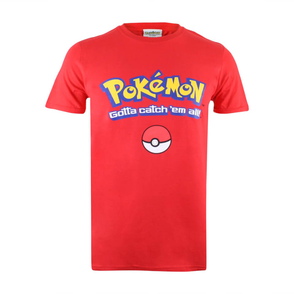 Pokemon Herren Gotta Catch Em All Logo T Shirt Rot L Rot