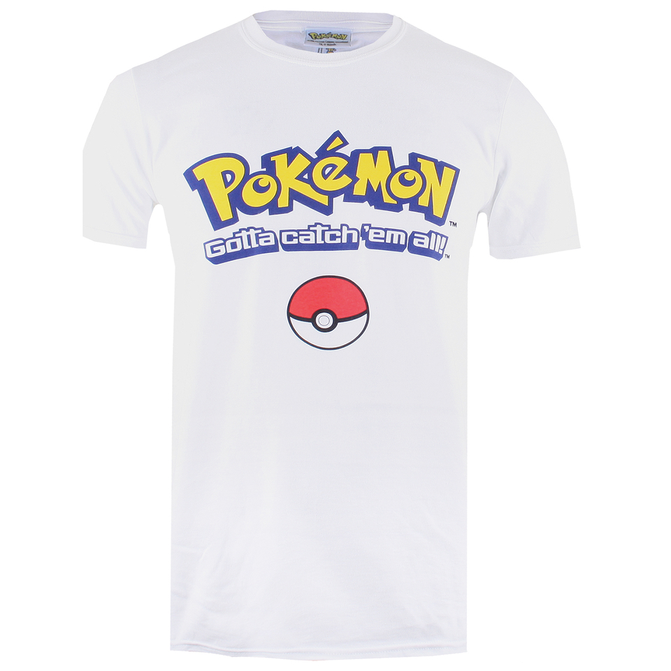 Pokemon Herren Gotta Catch Em All Logo T Shirt Weiß L Weiß