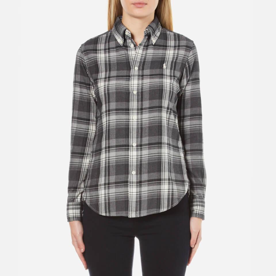 Polo Ralph Lauren Womens Georgia Brushed Plaid Shirt Grey/black S