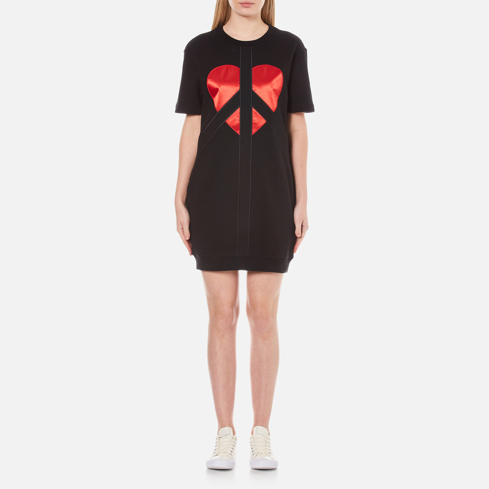 Love Moschino Womens Peace Heart Sweatshirt Dress Black It 42/uk 10