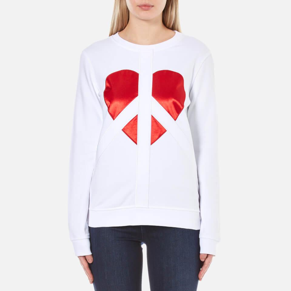 Love Moschino Womens Peace Heart Sweatshirt Optical White It 42/uk 10