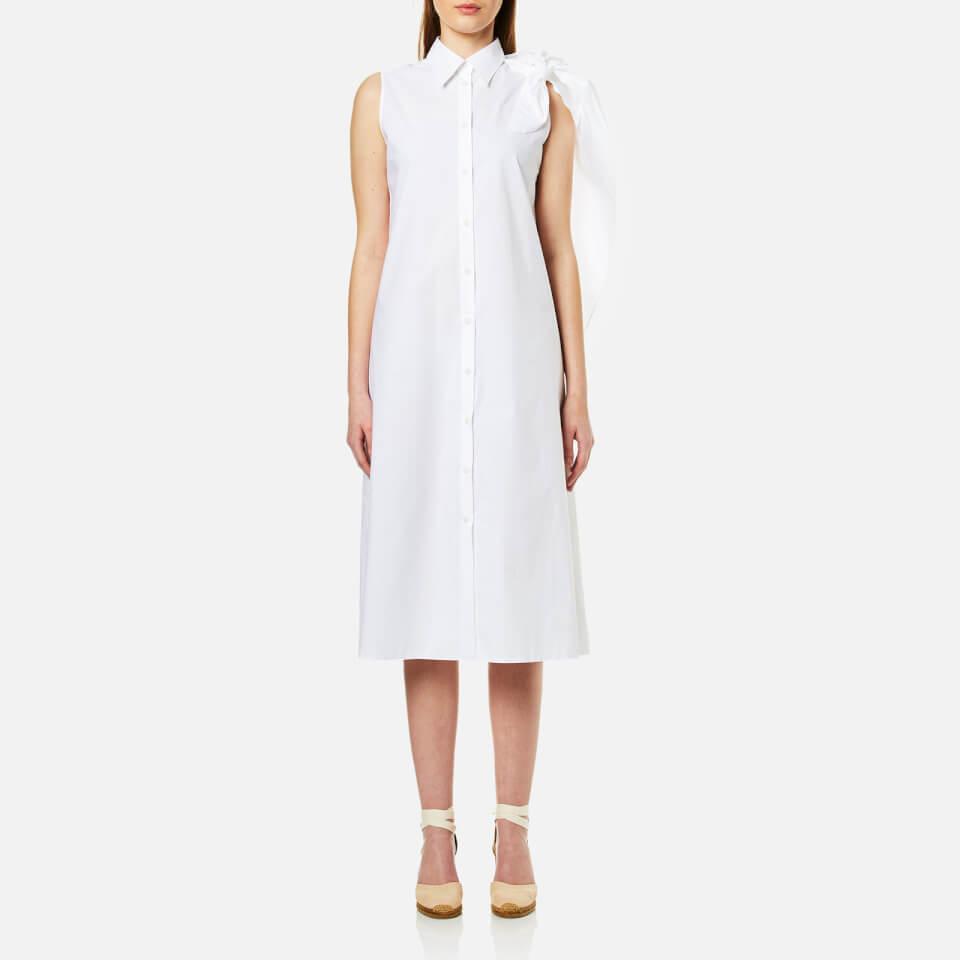 Mm6 Maison Margiela Womens Midi Shirt Dress With Cape Tie Sleeve White It 38/uk 6
