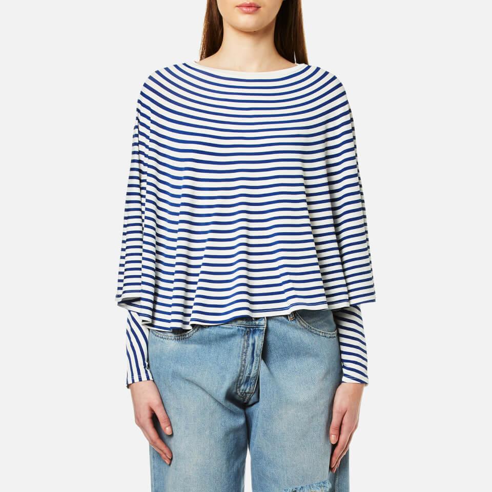 Mm6 Maison Margiela Womens Striped Long Sleeve Cape Top Off White/blue Stripe L