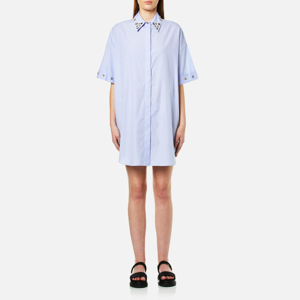 Mm6 Maison Margiela Womens Shirt Dress With Collar Popper Detail Micro Stripes Blue It 42/uk 10