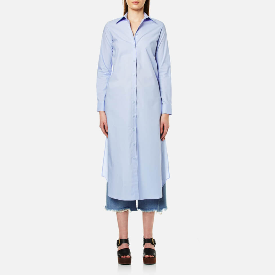 Mm6 Maison Margiela Womens Long Shirt Dress Shirt Blue It 42/uk 10