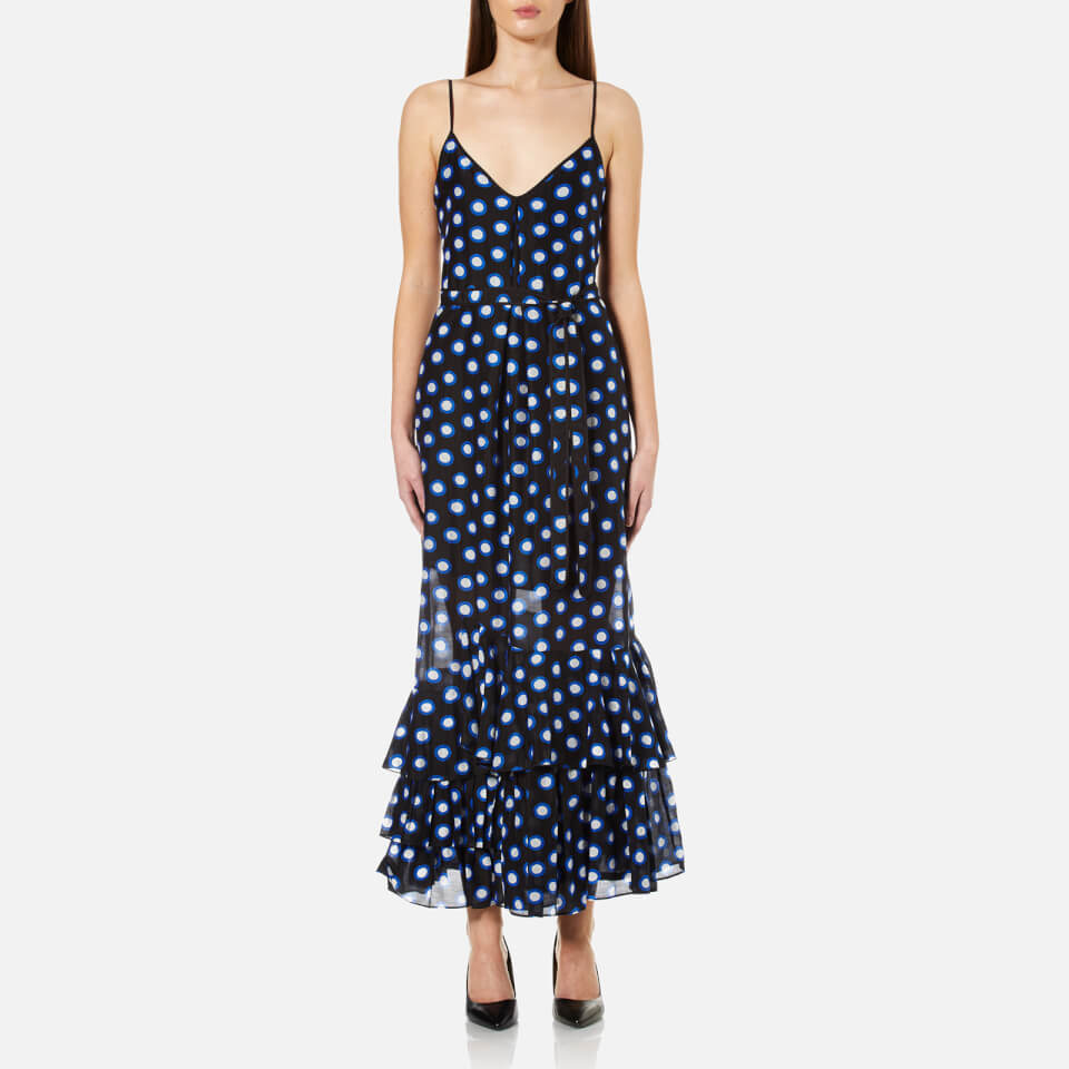 Boutique Moschino Womens Dotted Strappy Maxi Dress Blue Eu 42/uk 10